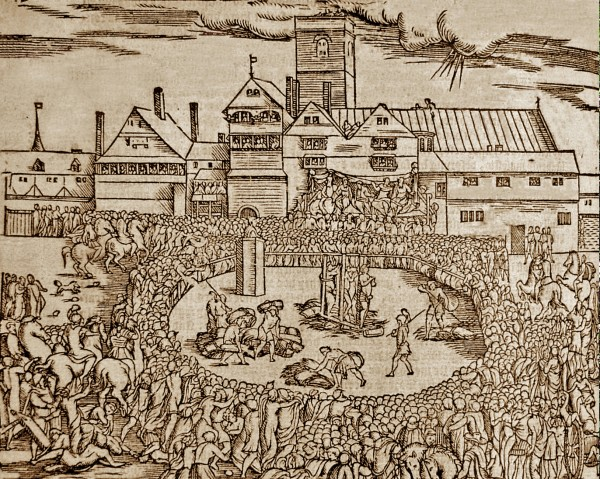 Woodcut of the burning of Anne Askew
